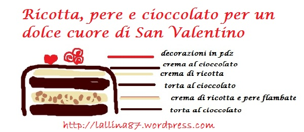 schema torta San valentino ricotta e pere